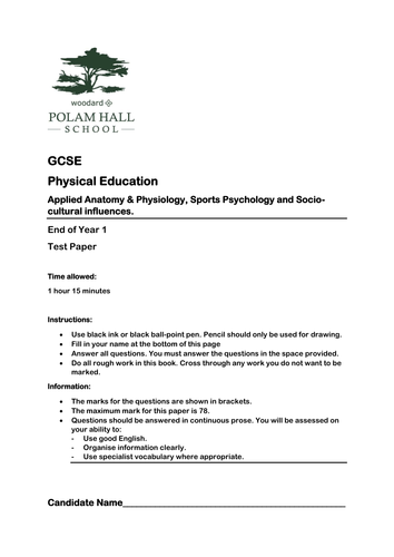 Gcse Pe Practice Test Paper Anatomy Physiology Sports