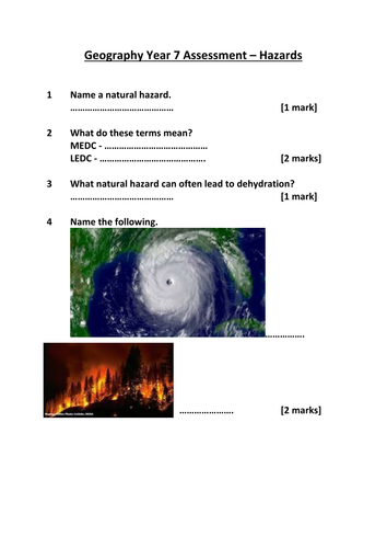(12) Assessment Lesson, Natural Hazards SoW - Year 7 Geography