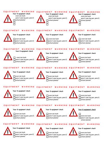 Equipment check stickers - editable