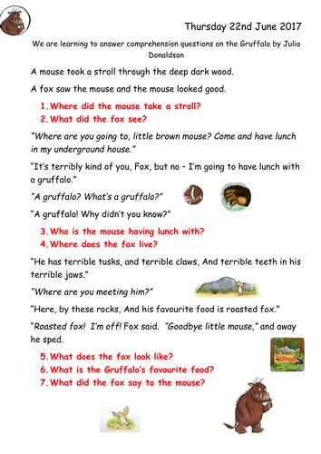 Gruffalo Comprehension Year 1 By Joop09 Teaching Resources Tes