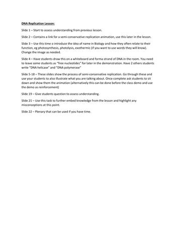 DNA replication lesson. A level Biology, AQA 7401/7402