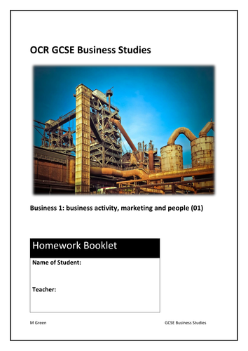 Homework activities for GCSE Business (9-1): OCR 01 business activity, marketing and people (PDF)