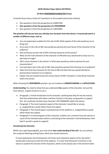 IGCSE Drama: Written Exam: Revision Booklet for Section B Performer Question