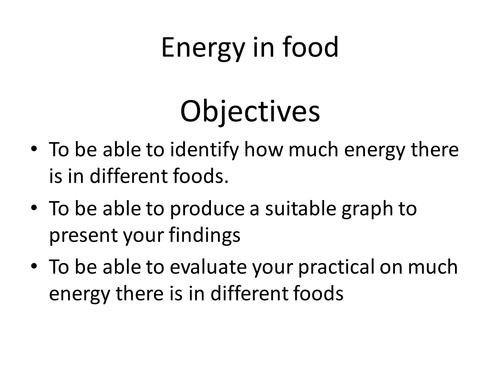 Energy in  food