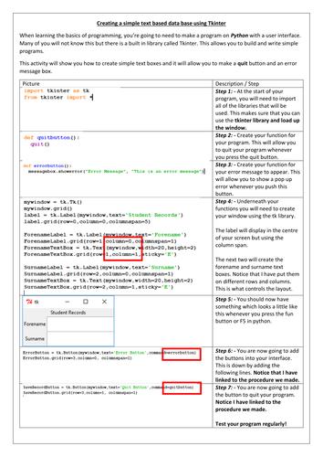 Python - User Interface Programming - GCSE / AS / A - Level - Tkinter