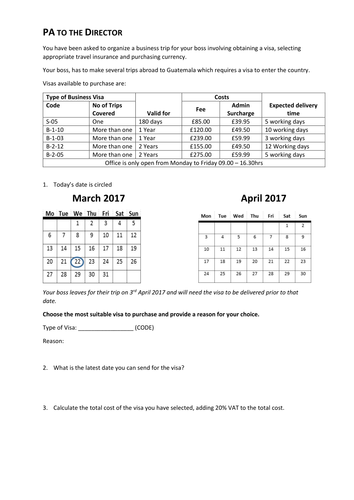 FS Maths L2 - Arranging a Business Trip