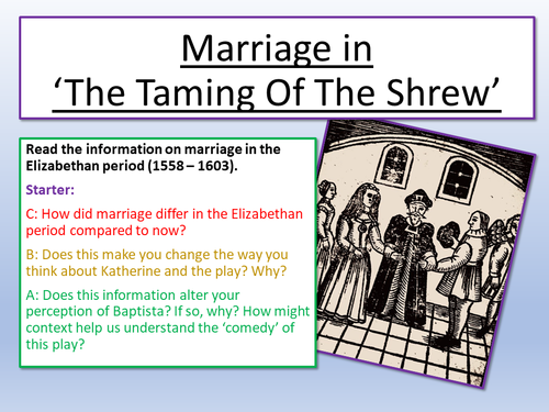 gender roles in taming of the shrew essay Academic forum 21 2003-04 55 circumstantially linking the two maslen and barton agree that shakespeare did not base the taming of the shrew on a single source but rather on this general body of popular misogynistic material.