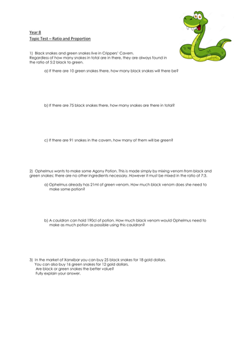Ratio and Proportion Worksheet for KS3