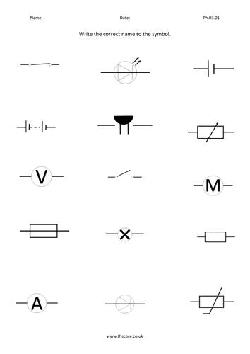 Circuit Symbols Name exercise Ph.03.01