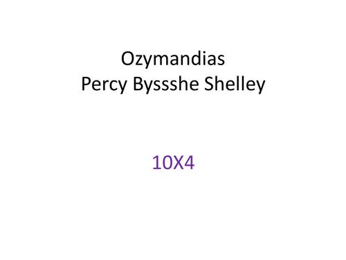 Eduqas Poetry - Ozymnandias
