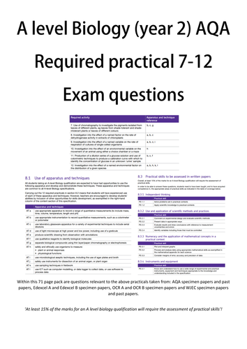 Required practical exam questions workbook   A level biology AQA OCR Edexcel WJEC Year 2