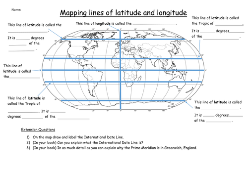 World Map With Latitude Longitude Grid By Swintrek