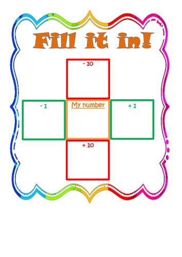 Fill It In Number Game - add & take 1s and 10s