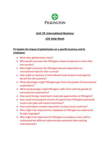 CTEC Business Studies 2016 Unit 19 LO1 Help Sheet