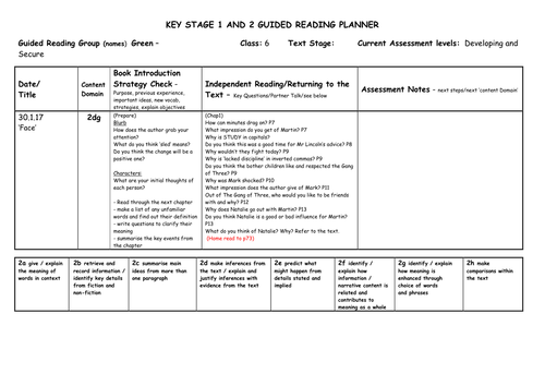 Guided Reading Questions and planning