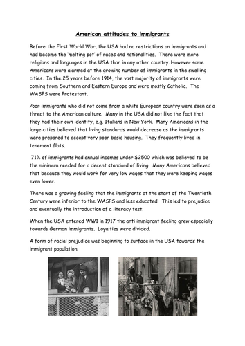 Immigration in 1920s USA for GCSE