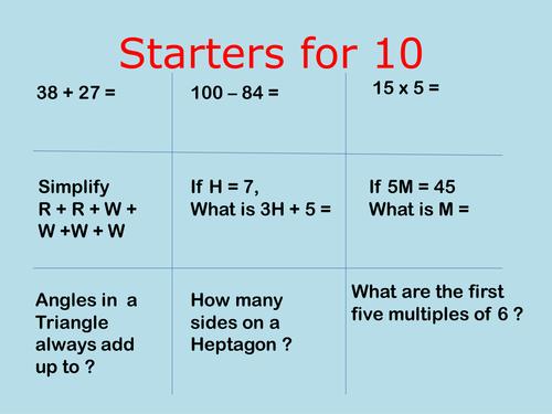 Ten different slides of Maths lesson starters for KS3 lower ability.