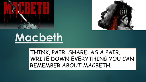 GCSE English Literature SOW for Macbeth (suitable for low-mid attainers)