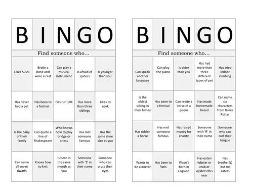 Ice Breaker Bingo - Team Building Activity - New Class by ... - photo#31