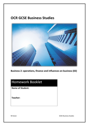 Homework tasks for GCSE Business (9-1): OCR 02 operations, finance and influences on business (Word)