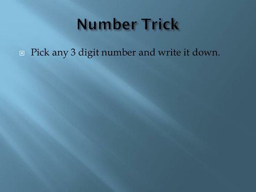 Nice little number trick