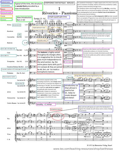 Edexcel A Level Music 2017 - Analysis for Symphonie Fantastique - Berlioz - annotated score