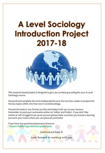 Sociology Interactive Summer Project for Y11 into Y12