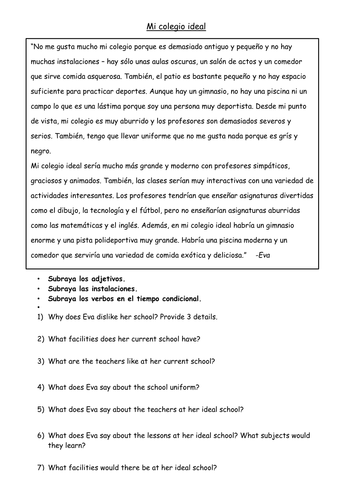 GCSE Spanish - Ideal School Reading Comprehension