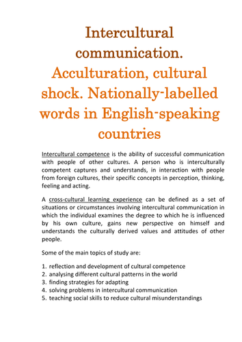 Intercultural communication  Acculturation, cultural shock   Nationally-labelled words in English-speaking countries