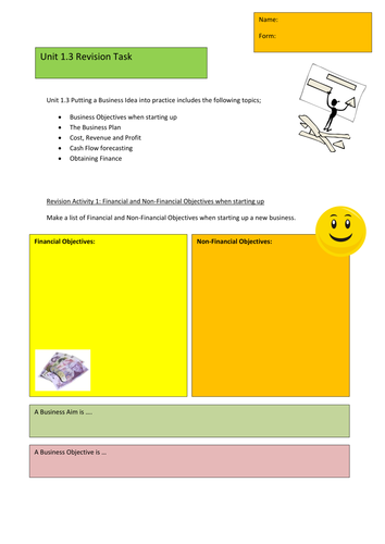 GCSE Edexcel Business Studies Unit 1.3 Revision Tasks
