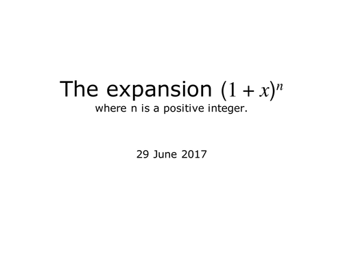 The Expansion of (1+x)^n