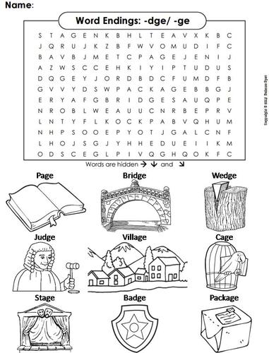 Word Endings Dge Ge Word Search By Sciencespot Teaching