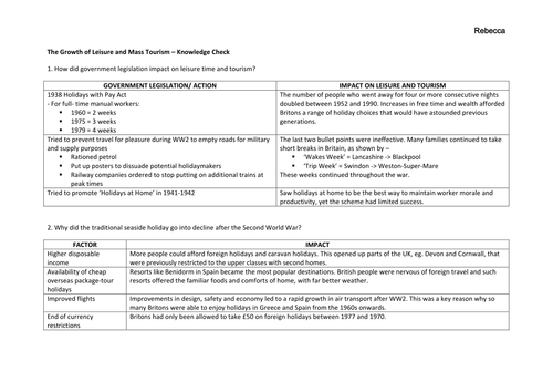 Revision for 4c: Leisure and Travel