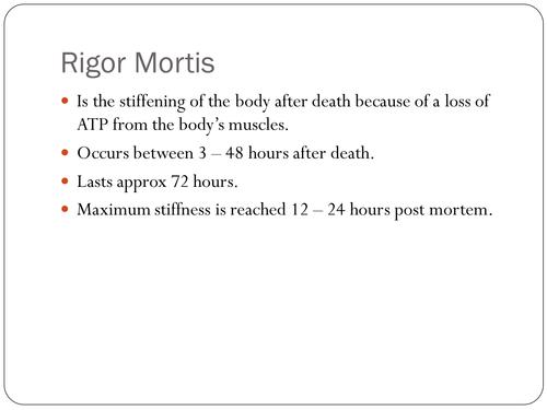 Rigor Mortis Forensics A2 Biology