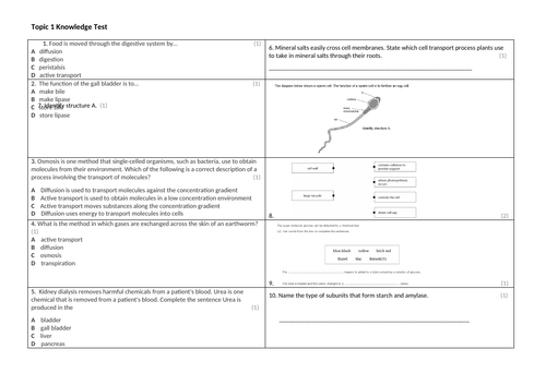 MCQ and short answer Q's for all Biology topics in the new 9-1 Edexcel Specification
