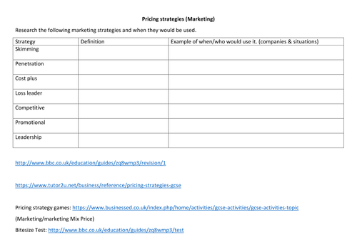 Pricing strategies research sheet