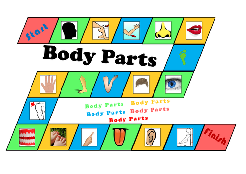 Body Parts - Board Game - Nouns For Learning English - Size A3