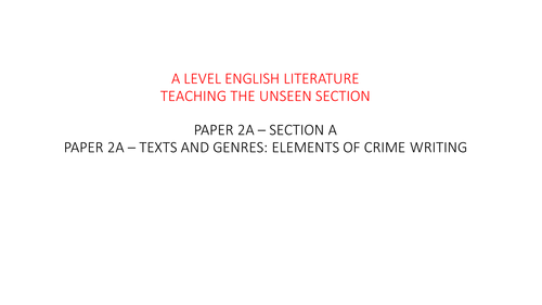 """""""Crime"""" Genre - ALL YOU NEED TO TEACH THE CRIME SECTION FOR AQA A LEVEL"""