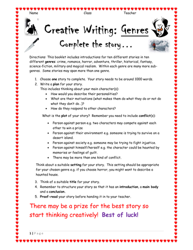 14 page GCSE / National 5 English Creative Writing Booklet: 'Complete the  Story' - 10 Genres