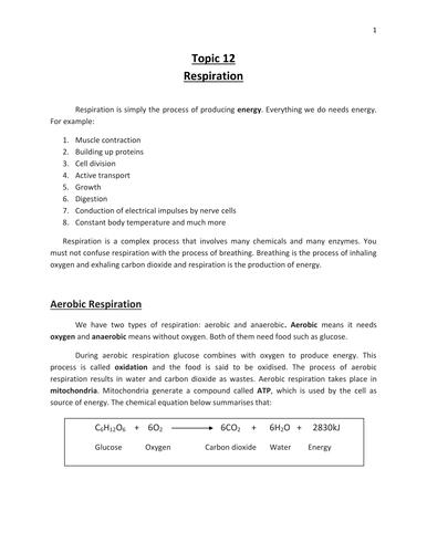 Respiration - IGCSE Biology - CIE