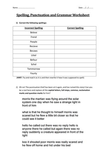 Spelling, Punctuation and Grammar Worksheet
