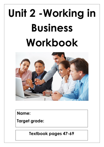 L3 Cambridge Technicals Business studies 2016 suite Unit 2 Working in Business Workbook