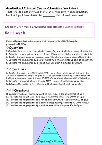 Differentiated Worksheet On Calculating Gravitational Potential