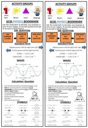 Gcse Physics Bookmark For The 1 9 Specification By Kellymmc