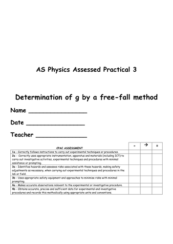 AQA Physics AS Practical Assessment Booklets Ideal for Evidence! (UPDATED!)