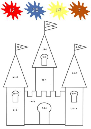 Colour by Addition & Subtraction (Castles)
