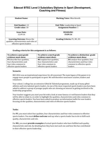 Btec unit 13 leadership assignment briefs