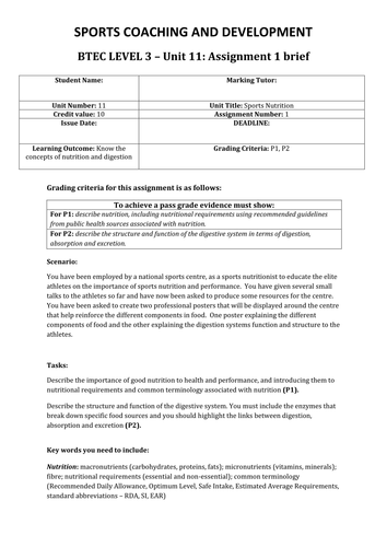 Btec unit 11 sports nutrition assignment briefs