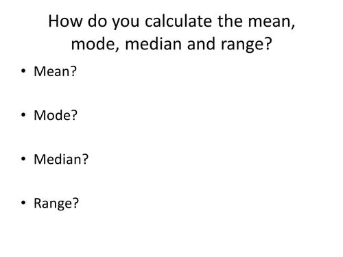 Maths Skills - Calculating Mean
