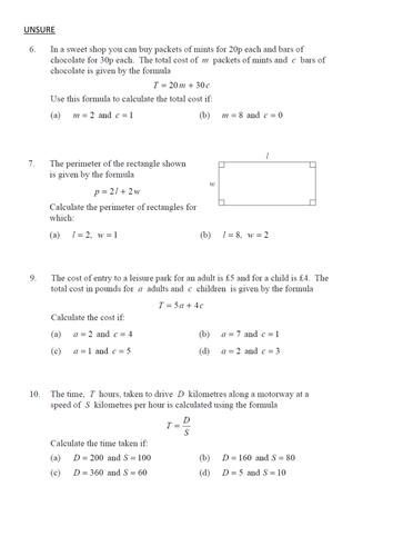 Substituting into Formulae